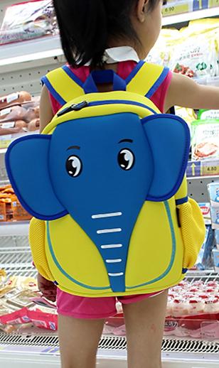 可爱幼儿宝宝男女卡通大象小学生1-2年级户外旅行儿童双肩书包
