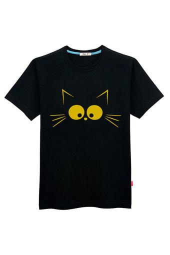 初己 创意手绘卡通猫咪超大码短袖t恤