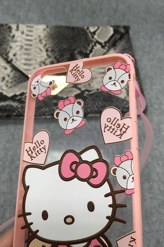 kitty猫iphone5/5s/6/6p全包边框挂绳手机壳