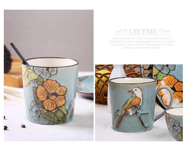 原创手绘陶瓷杯子 大号马克杯 个性创意复古咖啡杯餐具套装