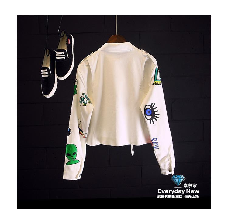 【韩版百搭卡通印花牛仔短外套】-衣服-牛仔外套