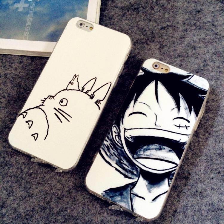 iphone5/5s彩绘全包黑白路飞龙猫手机壳