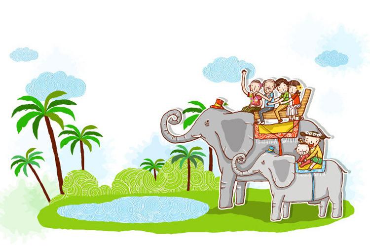 怡然之家 卡通可爱儿童房装饰墙贴纸 大象和小兔