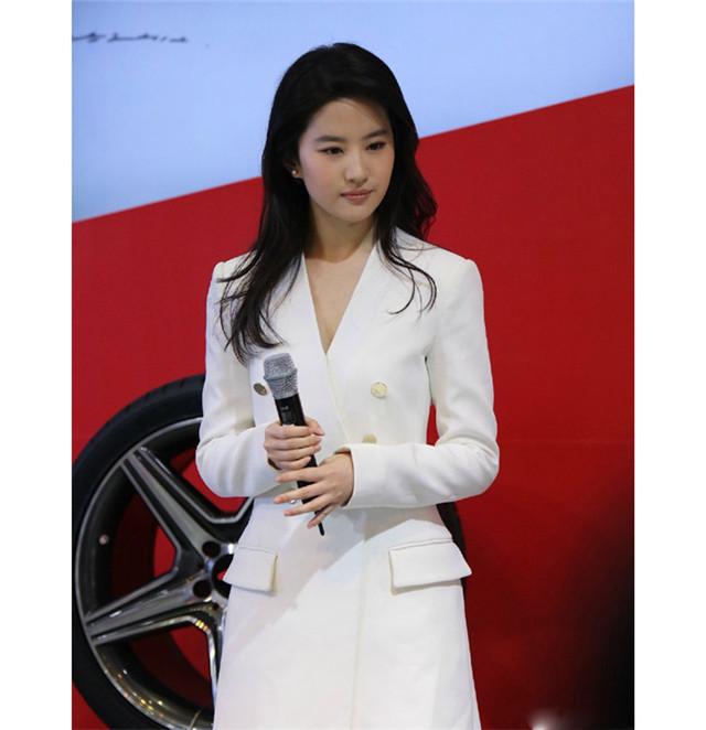 高圆圆刘亦菲明星同款双排扣白色风衣外套