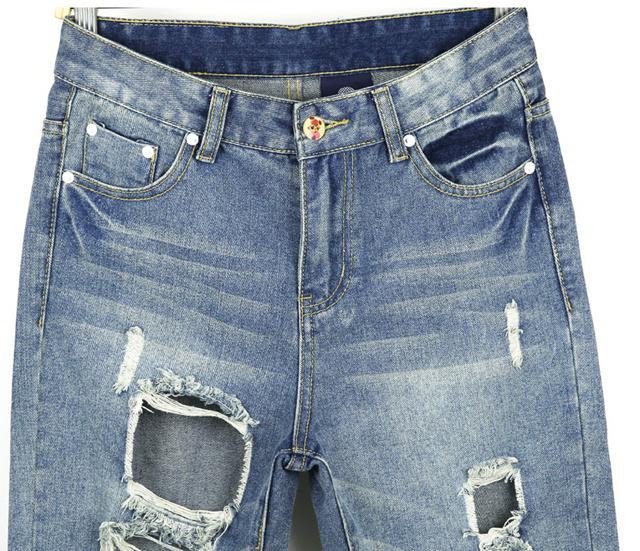 size 裤长:长裤 腰型:低腰 裤型:哈伦裤 面料:牛仔布 细节:破洞,磨白