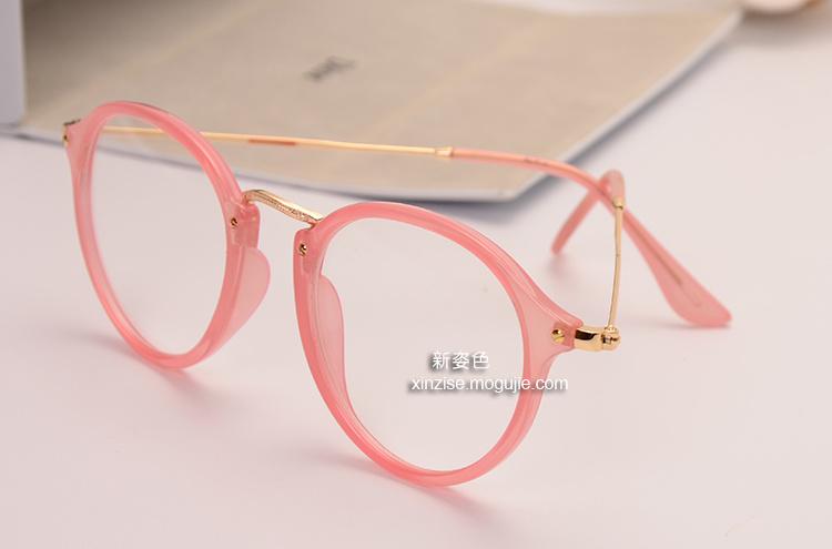 【森系小清新复古圆形时尚简约超轻公主粉色眼镜框】